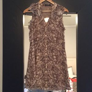 Theme button down tan and brown shift dress